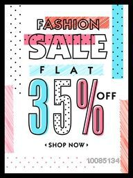 Fashion Sale with Discount, Fashion Sale Poster, Sale Banner, Sale Flyer, Flat 35% Off, Sale Typographical Background, Creative vector illustration.