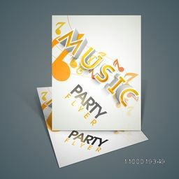 Creative stylish music flyer, banner, template or flyer for musical party.