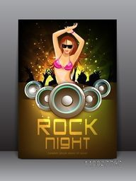 Creative business flyer, banner or template for Rock Night music party celebration.