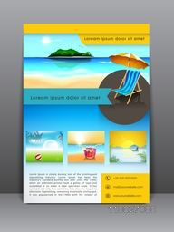 Stylish flyer, banner, template or brochure for tour, travel and tourism.