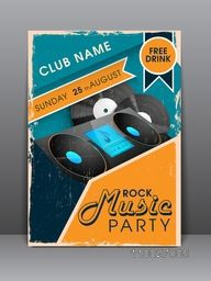 Creative business flyer, banner or template for Rock music party celebration.
