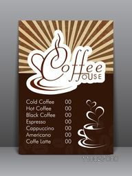 Creative stylish flyer, template or menu card design for Coffee Shop.