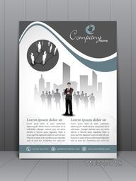 Professional business infographic template, brochure or flyer with business people.