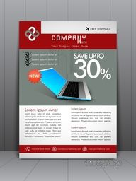 Stylish sale flyer, banner, template or brochure with discount offer for laptop shop.