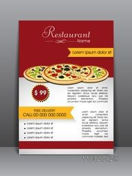 Stylish menu card, flyer or template for Pizza Restaurant.