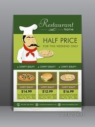 Stylish menu card, flyer or template for Restaurant.