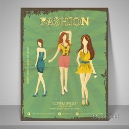 Creative vintage template, banner or flyer design of Fashion with illustration of young modern girls.