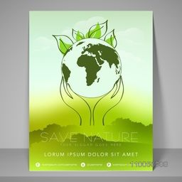 Stylish banner and flyer for save nature with nature scene, address bar and mailer.