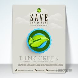 Stylish banner and flyer for save planet with leaf image, address bar and mailer.