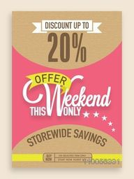 Weekend Sale flyer, banner or template design with 20% discount offer.