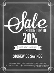 Sale and discount upto 20% off flyer, template or banner design.