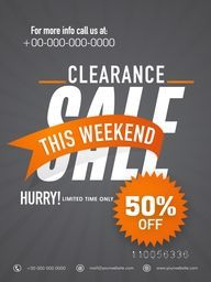 Template, banner or flyer design of Clearance Sale with 50% discount offer for this weekend only.