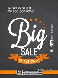 Creative flyer, template or banner design of Big Sale for limited time.