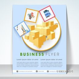 Professional business flyer, template or corporate brochure with graph charts presentation on sky blue background.