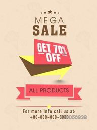 Mega sale flyer, banner or template design with discount offer on all products.