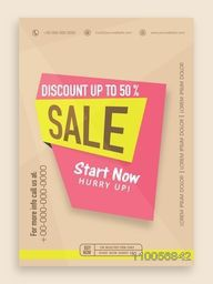 Stylish sale flyer, banner or template with best discount offer.