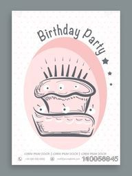 Vintage invitation card decorated by cake for Birthday Party celebration.