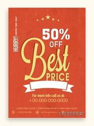 Best Price Sale Template, Sale Banner, Sale Flyer, 50% Discount Offer, Vector illustration.