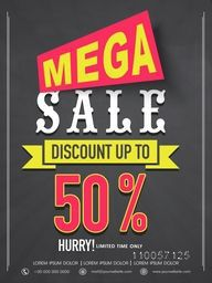 Mega sale flyer, banner or template design with best discount offer for your business.