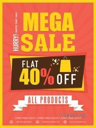 Mega sale flyer, banner or template with flat discount offer on all products .