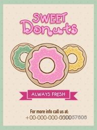 Vintage menu card design for sweet donuts shop or restaurant.
