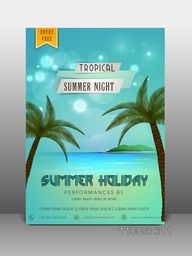 Stylish flyer, banner or template design for summer holiday.