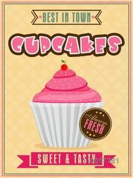 Vintage best in town menu card for cupcakes shop or restaurant.
