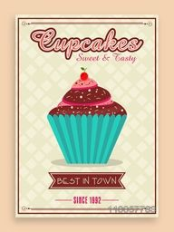 Vintage best in town menu card design for cupcakes corner or restaurant.