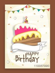 Birthday celebration beautiful invitation card design decorated by party flags and cake.
