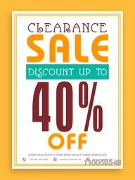 Vintage Clearance Sale with 40% discount offer, can be used as poster, banner or flyer design.