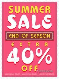 End of Season, Summer Sale flyer, poster or banner design with extra discount offer.