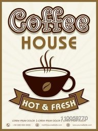 Hot and Fresh, Coffee House menu card design on vintage background.