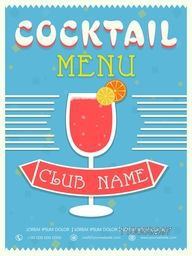 Vintage Cocktail menu card design for club, pub and beer bar.