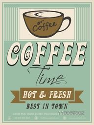 Vintage menu card design for Hot and Fresh, Coffee.