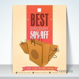 Sale banner, flyer or template design with best discount 50% off and shopping begs.