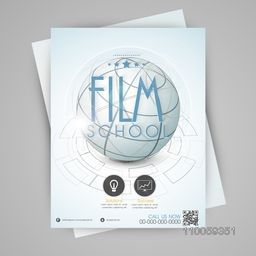 Film school template, flyer or banner design with globe.
