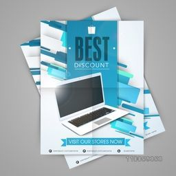 Stylish sale template, flyer or banner design with laptop.