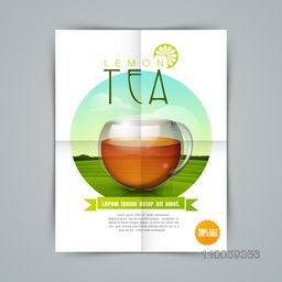 Creative stylish flyer, banner or template for tea shop with lemon tea cup.