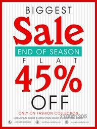 End of Season, Biggest Sale poster, banner or flyer design with flat 45% off on fashion collection.