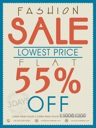 Vintage Fashion Sale poster, banner or flyer design with flat discount offer.