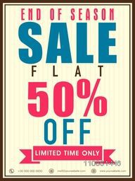 End of Season Sale with 50% off for limited time, can be used as poster, banner or flyer design.
