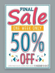 Final Sale poster, banner or flyer design for one week only with discount offer.