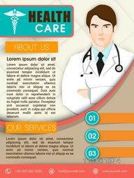 Health Care template, brochure or flyer design with illustration of a doctor.