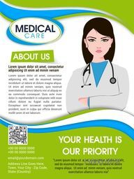 Medical Care template, brochure or flyer with illustration of a young female doctor in cross hand pose.
