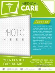 Stylish Medical Care Center template, brochure or flyer with Caduceus sign and space for your photo.