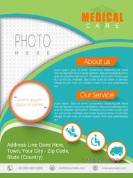 Creative Medical Care template, brochure or flyer design with place holder for your photo and content.