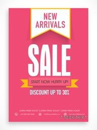 New Arrivals Sale poster, banner or flyer design with discount offer.