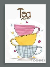 Tea Party celebration invitation card design decorated with colorful cups.