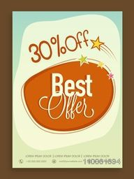Stylish Best Offer Sale poster, banner or flyer design with discount offer.