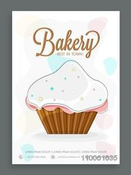Stylish menu card design for sweet shop or bakery decorated with cupcake.